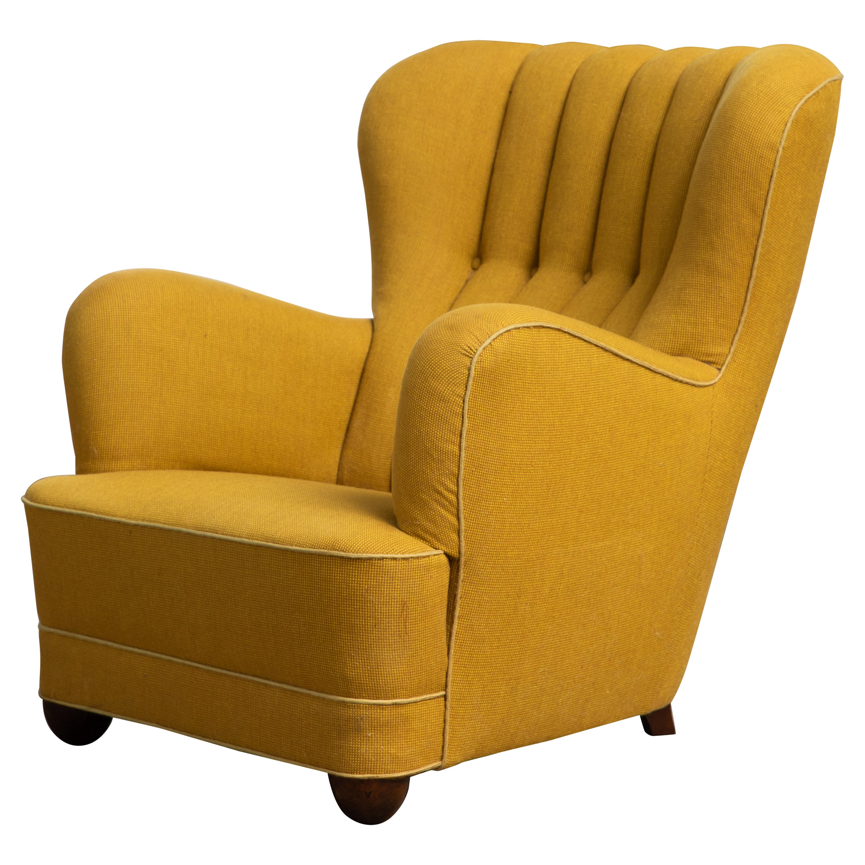 Fritz Hansen Attributed 1940s Danish Channel Back Lounge Chair