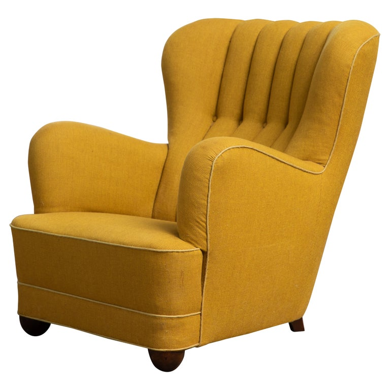 Fritz Hansen Attributed 1940s Danish Channel Back Lounge Chair For Sale