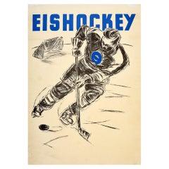 Original Vintage Poster for Eishockey Ice Hockey Sport Skater Ice Rink Puck Goal