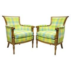 French Louis XVI Empire Directoire Green Plaid Bergère Lounge Arm Chair, a Pair