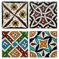 Ceramic Handpainted Moroccan Coaster or Tile, Set of 4
