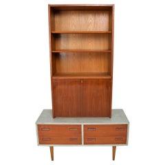 Modern Flair Scandinavian Teak Cabinet & Bookcase in Ceruse Gray, 1970s, Denmark