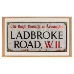 20th Century London Enamelled Street Sign, Ladbroke Rd W11, 1900s