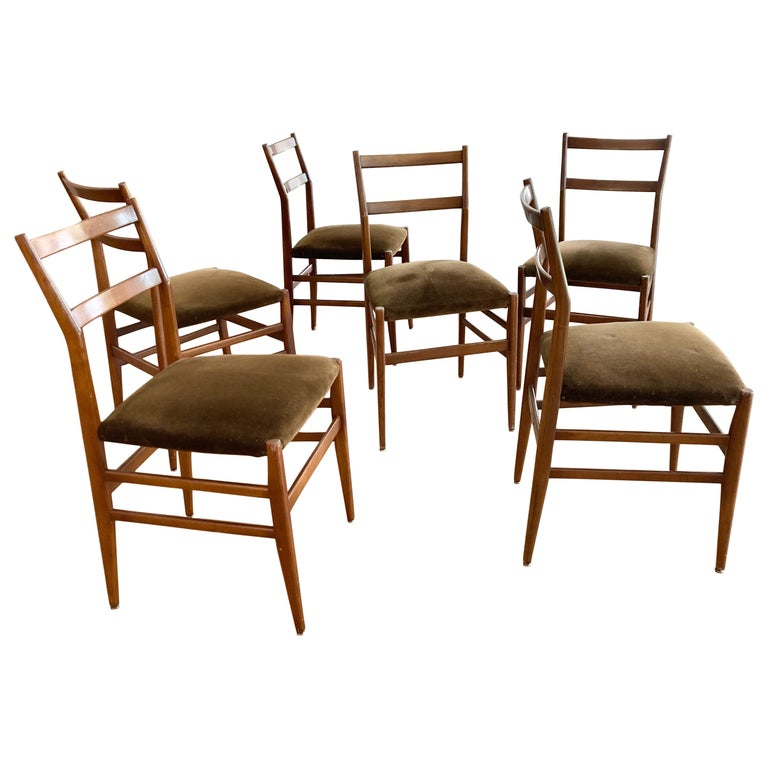 Set of Six Early Leggera Dining Chairs by Gio Ponti for Cassina For Sale