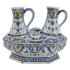 Antique Porquier Beau French Faience Pottery Cruet Set with Base, Ewers & Lids