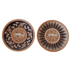Pair of Vintage Round Greek Small Decorative Dishes