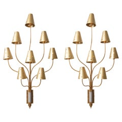 Large Pair of Eight Arms Gilded Metal Wall Sconces