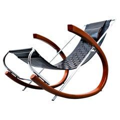 Black Leather Rocking Chair Model 'Donna' by Elio di Franco for Zanotta, 1988