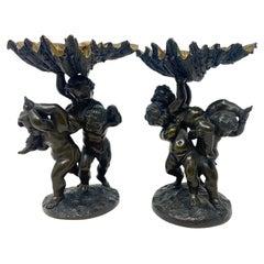"Pair Antique French Bronze ""Vide Poche"" Putti Figures, Circa 1880's"