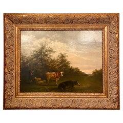 Antique Dutch Oil on Mahogany Panel Landscape Painting, Circa 1880's