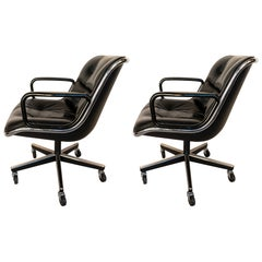 Pair of Knoll Black Leather Pollock Executive Arm Chairs