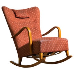 Danish Rocking and Lounge Chair Attributed to Alfred Christensen, 1940's