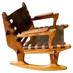 Leather and Teak Angel Pazmino Rocking Lounge Chair for Muebles de Estilo, 1970s