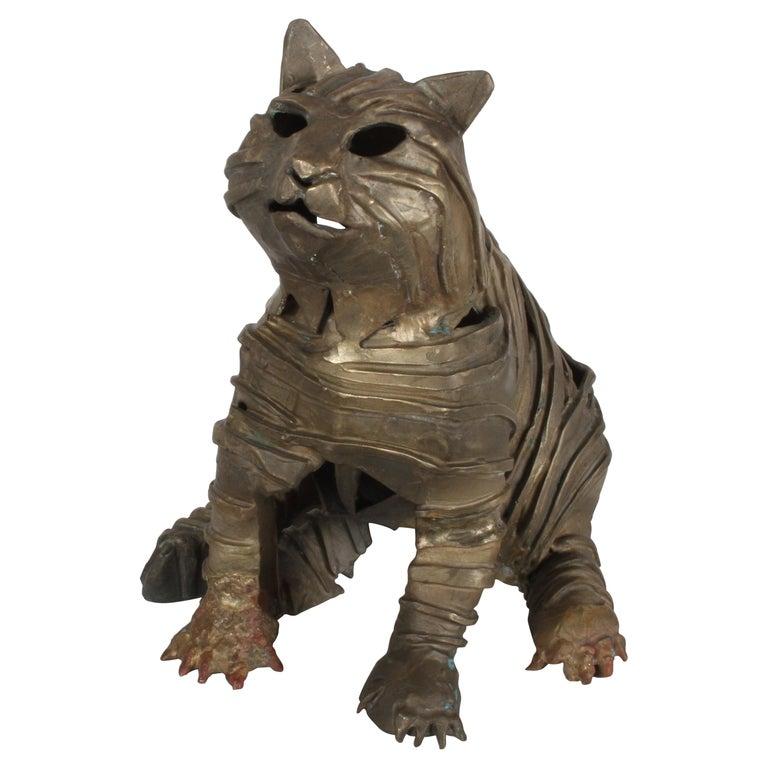 Mid-Century Bronze Welded Brutalist Mummy Cat Sculpture, Style of Jane Ackroyd For Sale