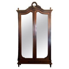 Antique French Louis XVI Style Mirrored 2 Door Mahogany Armoire, Circa 1880