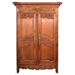 Antique French Provincial Carved Elm Armoire, Original Brass Hardware, Ca. 1890s