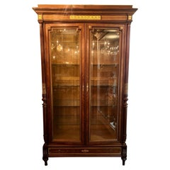 Antique French Louis XVI Two Door Beveled Glass Display Cabinet, Circa 1870-1880