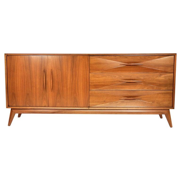Albert Parvin Diamond Front Walnut Dresser For Sale