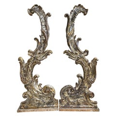 Pair 18th Century Italian Silver Leaf Architectural Carved Polychrome Scrolls