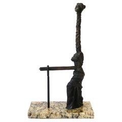 Surreal Bronze Female Sculpture on Marble Base