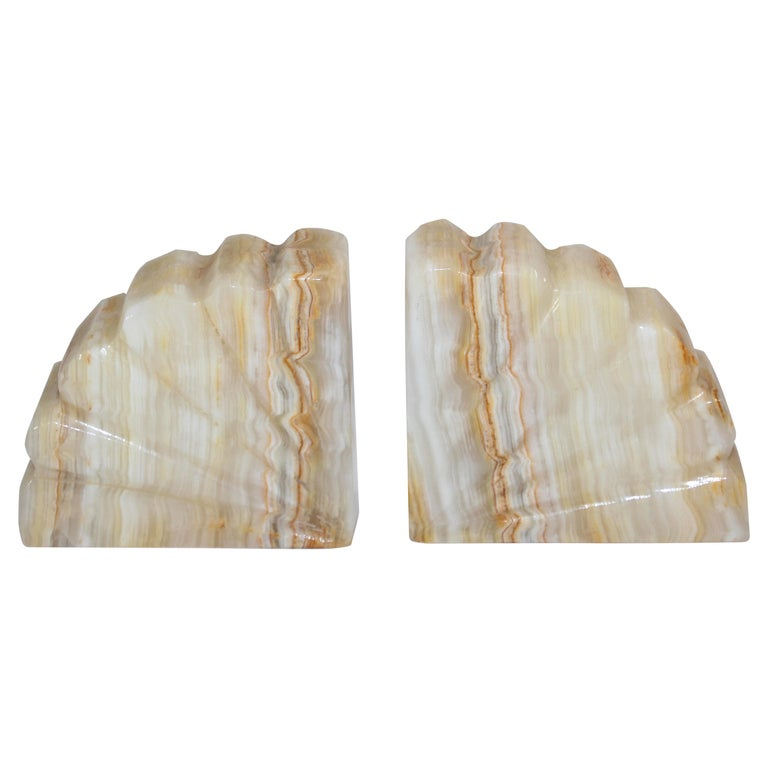 Art Deco Marble Bookends Hand Carved Scallop Shell Design, French, Ca 1940s For Sale