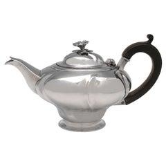 Stylish Antique Sterling Silver Teapot, Batchelor Size, London, 1824