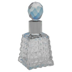 Antique Glass & Sterling Silver Scent Bottle, London 1893, Pyramid Shape