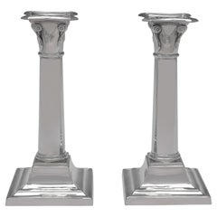 Neoclassical Revival Sterling Silver Pair of Candlesticks, Sheffield 1921