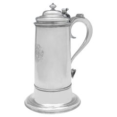 Large George II Antique Sterling Silver Flagon, London 1730, Thomas Tearle