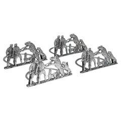 Novelty Set of Victorian Sterling Silver Menu Holders / Name Card Holders, 1892