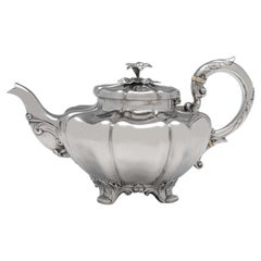 Early Victorian Antique Sterling Silver Teapot in 'Melon' Design, London 1838