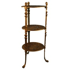 Victorian Style Three Tier Figural Shelf/Plant Stand