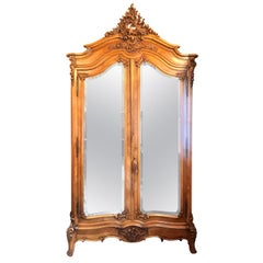 Antique French Louis XV Carved Walnut Beveled Mirror 2 Door Armoire, Circa 1880