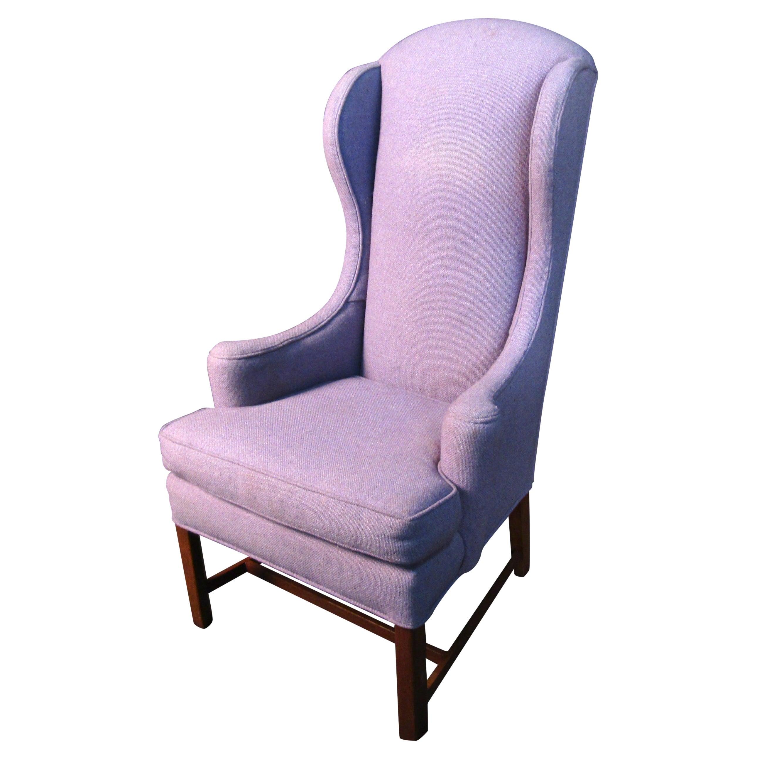 Mid-Century Modern High Back Purple Lounge Chair
