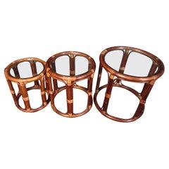 Three Mid-Century Wood & Wicker Side Tables