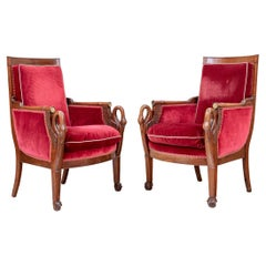 Elegant and Fine Pair of Period Empire Armchairs with Swan Carving
