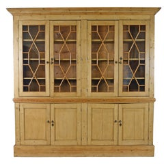 Large Georgian Style English Pine Bookcase/Display Cabinet, c. 1890 and Later