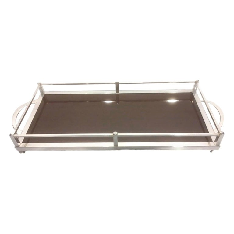 Vintage Silver-Plate Galleried Serving Tray by Crescent with Surface by Formica For Sale