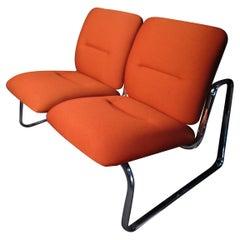 Unique Mid-Century Modern Orange Bench