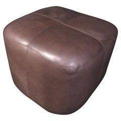 Mid-Century Modern Brown Leather Ottoman