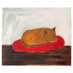 Painting of Sleeping Cat by Earl Swanigan