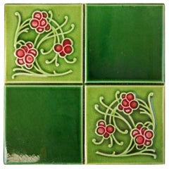 1 of the 30 Antique Glazed Relief Tiles by Gilliot Frères, Hemiksem, circa 1925