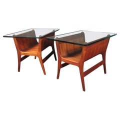 Beautiful Mid-Century Modern Sculptural Wood Side Tables with Glass Tops