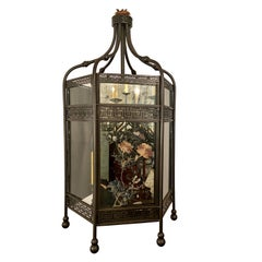 Antique 19th Century Chinoiserie Bronze Lantern with Painted Mirror and Glass