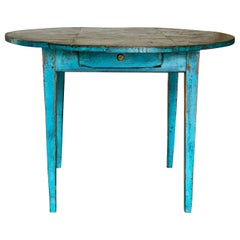 Electric Blue Painted Round Table with Zinc Top