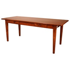 19th Century Refectory Table in Cherry Wood-France, Two Drawers