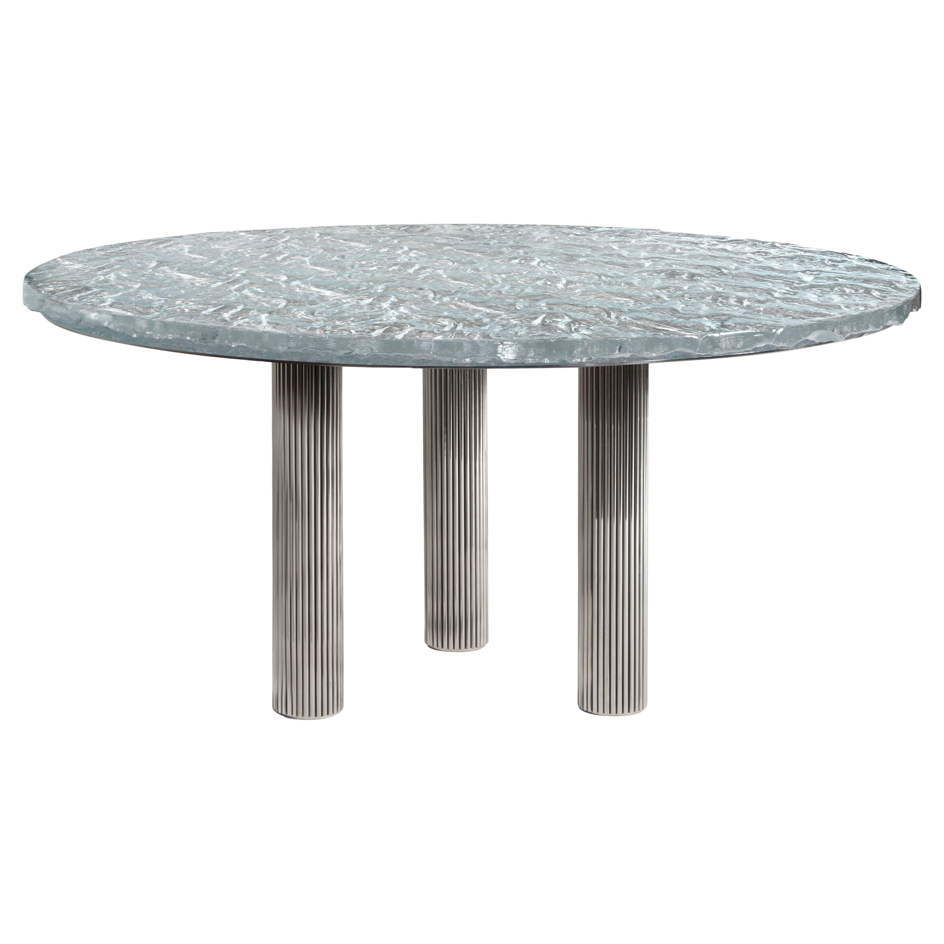 Contemporary Round Table by Hessentia with Artistic Glass Top and Metal Base
