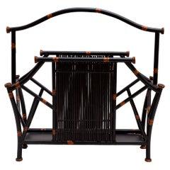 Magazine Rack Mid-Century Iron Faux Bamboo Form