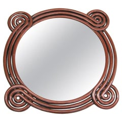 French Mid-Century Modern Carved Red Lacquer 'Perpetually Curving' Mirror, 1930