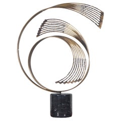 "Vintage Brass ""Windswept"" Sculpture by Curtis Jere"